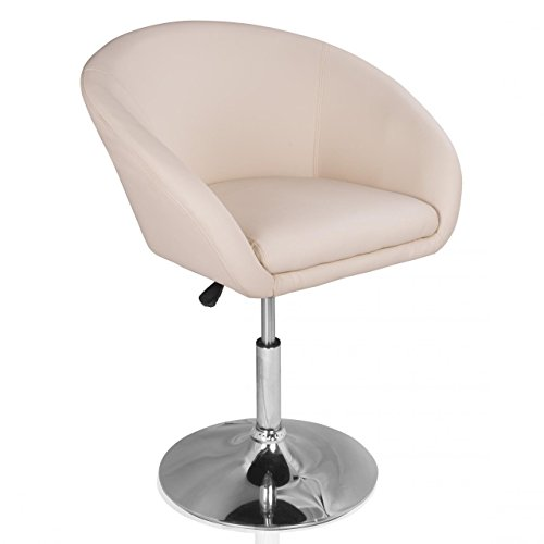 Homelux Lounge-Sessel Clubsessel Kunstleder Höhenverstellbar Creme Polstersessel Drehsessel Barhocker Drehstuhl Barstuhl Retrosessel Cocktailsessel