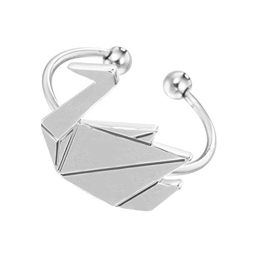 Qiandi Adjustable Origami Crane Swan Animal Open Rings Gift for Women Girls (Origami Swan)