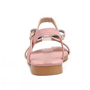 pink Pajarita LvYuan Primavera Hebilla PU Blanco Rosa blushing Mujer Verano Tacón Plano Plano Sandalias Paseo Gris wqHHZYxt
