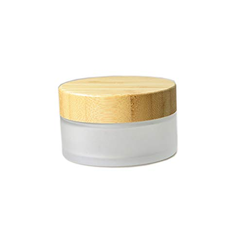 1 Pack 100ml /100g Frosted Glass Cream Jar Environmental Bamboo Lid Frosted Glass Bottle Cream Jar with Inner Liner Empty Cosmetic Comtainer Refillable