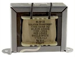 Triad Magnetics N-51X Transformer; Isolation; Pri/Sec:115VAC; 50/60Hz; 35VA; 1500Vrms; 3-11/16In.W; 2-1/8In.D