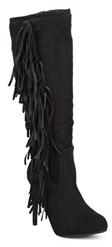 Philly 11 Womens Stiletto Knee High Fringe Boots Black 7 Fringe High Heel