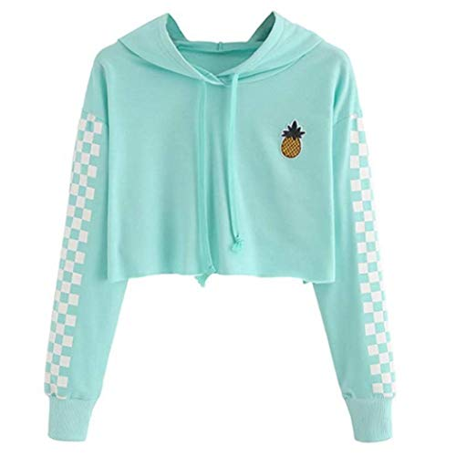 Womens Crop Tops Sweatshirt Pineapple Embroidery Gingham Plaid Hoodies Pullover Green]()