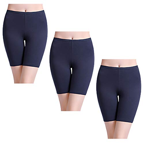 - wirarpa Womens Anti Chafing Cotton Underwear Boy Shorts Long Leg Under Dresses Biker Short Leggings 3 Pack Blue Size 7