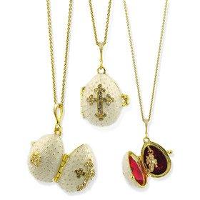 Eggs All Kinds Egg Pendant Locket Cross w/Angel Sterling Silver 925 Gold Plated 22kt Swarovski Crystals ()