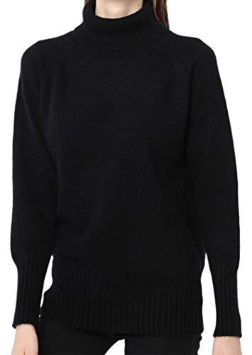 Ailaile Cashmere Sweater Women Winter Turtleneck Thick Loose Oversize Pullover Female (XL/US Size 16-18, Black)