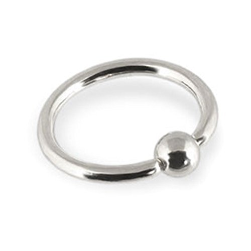 MsPiercing 14K Gold Captive Bead Ring, Gauge: 16 (1.2Mm), 14K White Gold, 9/16