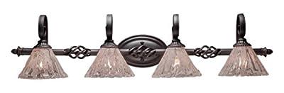 "Toltec Lighting 164-DG-7195 Eleganté 4 Light Bath Bar with 7"" Italian Ice Glass, Dark Granite Finish"