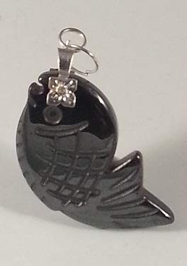 - New Hematite Fish pendent Black Necklace with Lobster Claw Clasp Leather or Chain