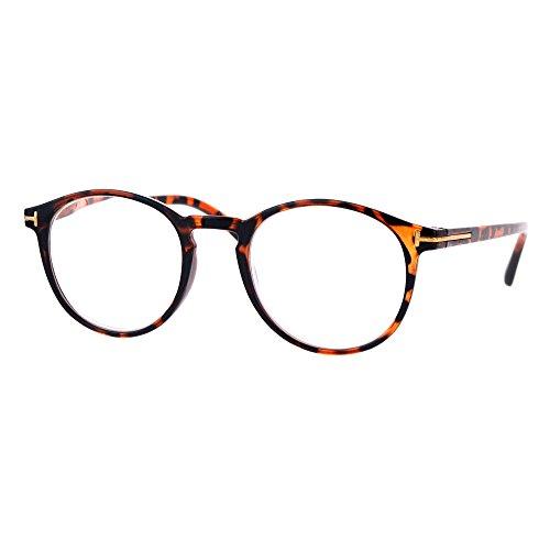 Magnified Reading Glasses Round Keyhole Fashion Frame Spring Hinge Tort - Round Keyhole