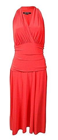 Nine West Womens Matte Jersey V-Neck Cocktail Dress Orange 10 - Matte Jersey Surplice