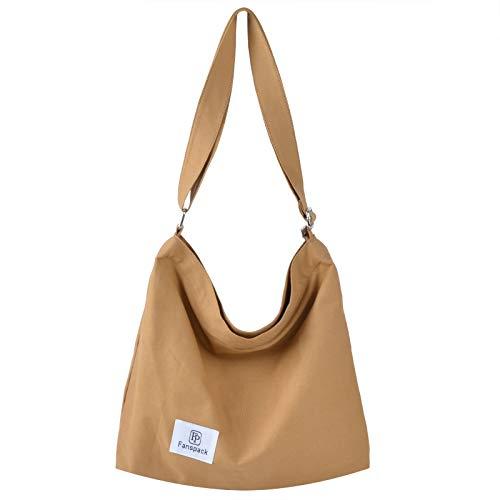 Fanspack Women's Canvas Hobo Handbags Simple Casual Top Handle Tote Bag Crossbody Shoulder Bag Shopping Work Bag (Khaki-Original Design)