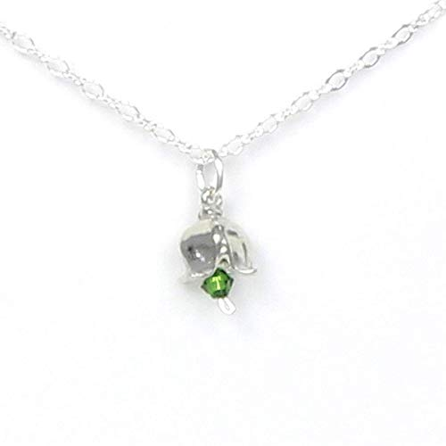 (May Flower Lily of the Valley Necklace with Birthstone Colored Crystal - Gift Packaged - Handcrafted Pewter Made in USA)