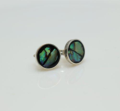 Circle Shape Mother of Pearl Sterling Silver Stud Earrings by Handmade Studio ()