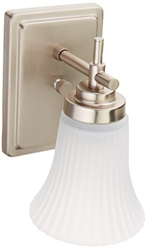 Lite Source LS-16941SS/FRO Bendek 1-Lite Wall Sconce Lite, Satin Steel with Frost Glass Shade