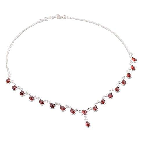 NOVICA .925 Sterling Silver Garnet Waterfall Pendant Necklace 'Scarlet Droplets', 16.5