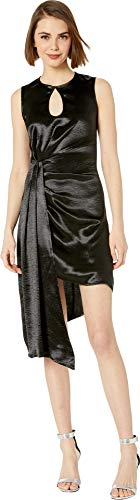 bebe Womens Hammered Satin Asymmetrical Dress Jet Black 2