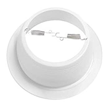 6 Inch Recessed Can Light Trim - White Metal Step Baffle for 6 Inch Recessed Can - (1) Oversized Ring Included - Fits Halo/Juno Remodel Recessed Housing - BR30/PAR30/R30 (6 Pack) Four Bros Lighting SB30/WHT/6PK