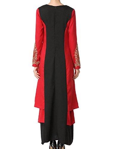 Lungo Elegante Di Donne Musulmano Colpo Comodi Colore Nero Splicing Abito Irregolare Delle prw1vpqS