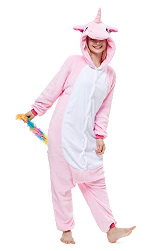 (Yutown New Adult Animal Costume Onesie Unicorn Halloween Cosplay Pajama Zipper Pink Pegasus)