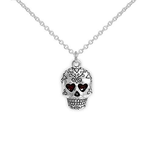 - Dark Red Heart Eyes Fancy Sugar Skull Petite Drop Pendant Necklace Silver Tone, Halloween