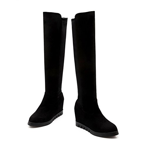 Boots Closed Toe Pull Solid Heels Round AgooLar Women's High on top Black High 0Pt8AqF