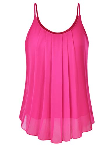 EIMIN Women's Pleated Chiffon Layered Sleeveless Cami Tank Tunic Top Fuchsia 2XL