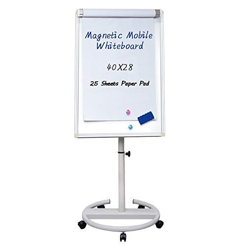 Mobile Dry Erase Board - 40x28 inches Magnetic Portable Whiteboard Stand Easel White Board Flipchart Easel Board with 25 Sheets Paper Pad