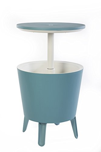 Green Adirondack End Table - Keter 7.5-Gal Cool Bar Modern Smooth Style with Legs Outdoor Patio Pool Cooler Table, Teal