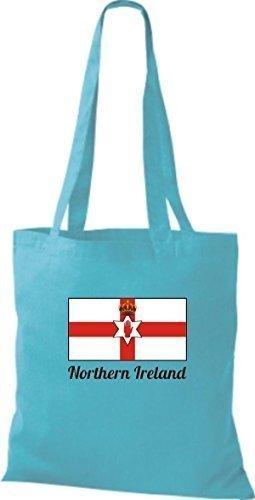 ShirtInStyle Bolso de tela Bolsa de algodón Yute de país Northern Irlanda Irlanda del norte - fucsia, 38 cm x 42 cm cielo
