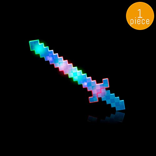 (Lumistick LED Light Up Diamond Pixel Sword 24 Inch | Multicolor Ultra Bright Flashing Light Motion Activated Dagger Blade Glowing Illuminates Sword (1 Sword, Blue))