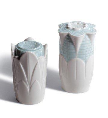 NATURO SALT & PEPPER SHAKERS ( TURQ ) Lladro Porcelain by Lladro Porcelain