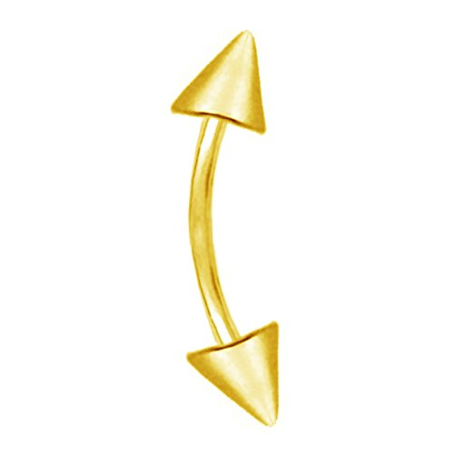 Ritastephens 14k Solid Gold Yellow Cone Eyebrow Ring Body Jewelry