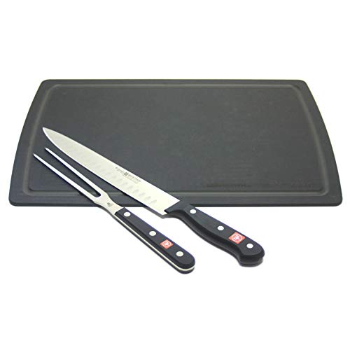 - Wusthof Gourmet 2 Piece Carving Set with Black Epicurean Board