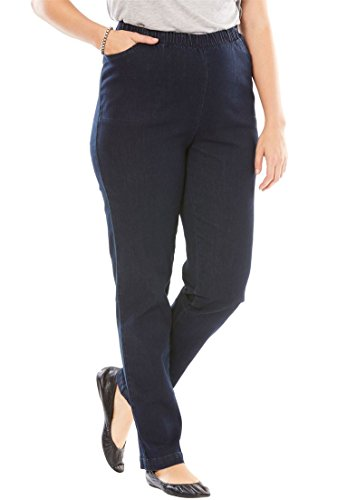 Women's Plus Size Straight Leg Fineline Jean Indigo,18 W Detail Straight Leg Jeans