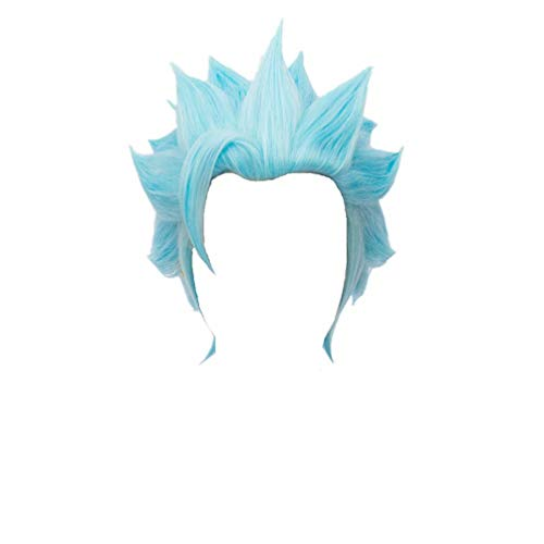 Kadiya Short Blue Cosplay Wig Heat Resistant Full Synthetic Hair  (Not Styled) -