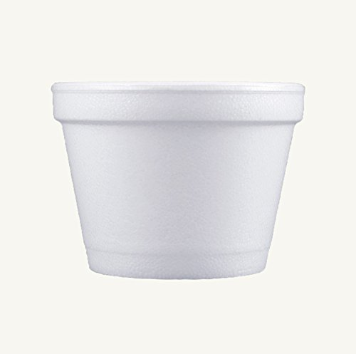 Dart 4J6, 4-Ounce Customizable White Foam Cold And Hot Food Container with Translucent Non-Vented Lid, Dessert Ice-Cream Yogurt Cups, Sauce Dressing Containers with Matching Covers (50) - Foam Round Food Container