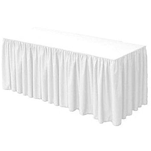 URBY 8 Ft Fitted Table Skirt Cover Wedding Banquet With Top Topper  Tablecloth   White