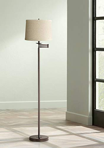 Modern Swing Arm Floor Lamp Bronze Natural Linen Drum Shade for Living Room Reading Bedroom Office - 360 Lighting