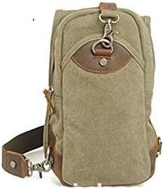 Color : Khaki, Size : S Y.H.W.U.S Long Strap Military Sling Bag with Leather Strip for Boy Large Capacity Backpack