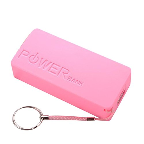 SUKEQ Portable 5600mAh 2 X 18650 USB Power Bank Carrying Case with Keychain DIY Battery External Charger Case Box For iPhone, Samsung Galaxy, Sony, Other Cellphones, 22 X 42 X 96mm (Pink) (Chain 5600)