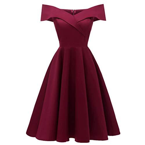 (TANLANG Women Big Cocktail Cross Wrap Evening Dress Short Sleeve Sexy Word Collar Strapless Bridesmaid Dress A Line Skirt Wine Red)