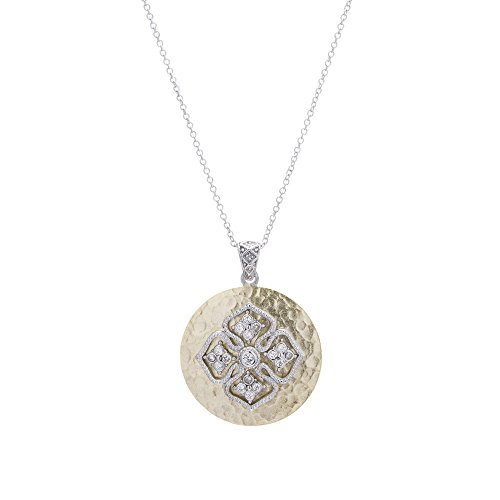 Two Tone Sterling Silver Textured Disc with Cubic Zirconia Cross Accent Pendant/Necklace - 18