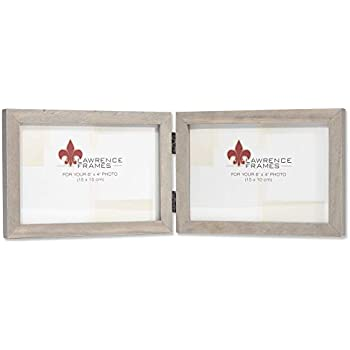 Lawrence Frames 4x6 Hinged Double (Horizontal) Gray Wood Gallery Collection Picture Frame, 6x4D