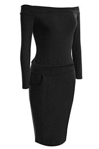 ZEARO Elegante Frauen-Boot-Ausschnitt Langarm-Minikleid