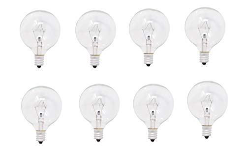 Mandala Crafts Replacement Light Bulbs for Scent Wax Warmer, Candle Melt, Fragrance Burner, Oil Diffuser, Lamp, E12,120v 25-Watt G50, 8 Pack