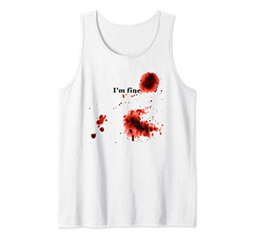 I'm Fine Halloween Bloody Scary Stabbed Chest Simple Costume Tank Top -