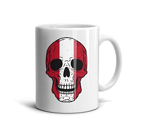 WOFROEGP Inspirational White Ceramic Cup for Office and Home Skull Peru Flag 11 Oz Tea Cup Gift for Dad Boyfriend Co-Workers Wife Mom Girlfriend - Flag Peru Civil