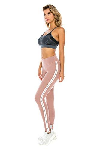 ALWAYS Women Solid Basic Soft Stretch Striped Leggings Mauve White Regular (Spandex Striped Leggings)