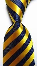 (jacob alex #38173 Classic Necktie Striped Gold Dark Blue JACQUARD WOVEN 100% Silk Men's)